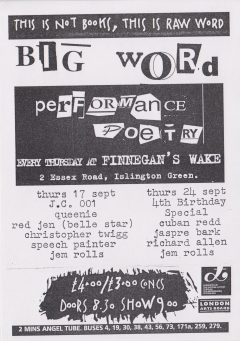 Big Word Finnegans Wake Islington September 001