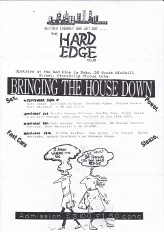 Hard Edge Club Red Lion Soho 15th October