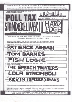 Hard Edge Club Red Lion Soho Mon 2 April 1990