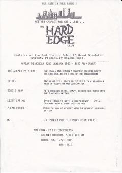 Hard Edge Club Red Lion Soho Mon 22 Jan 1990