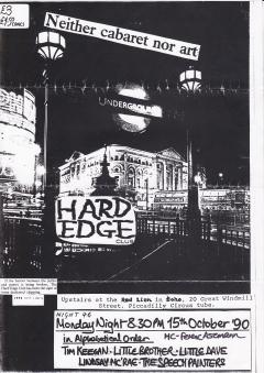 Hard Edge Club Red Lion Soho Mon15th Oct 1990