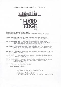 Hard Edge Club Red Lion Soho Mon27 November