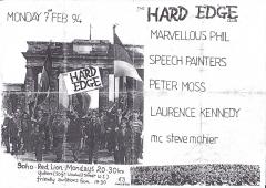 Hard Edge Club Red Lion Soho Mon7th Feb 1994
